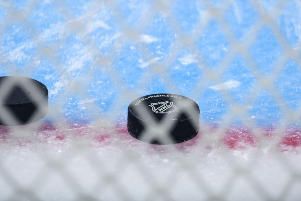 A detail shot of the Official Practice Puck during warm ups against the Detroit Red Wings at STAPLES Center on November 14, 2019 in Los Angeles, California.