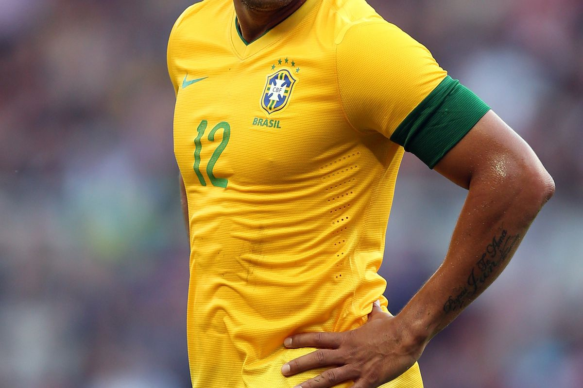 MIDDLESBROUGH, ENGLAND - JULY 20:  Hulk of Brazil looks on during the international friendly match between Team GB and Brazil at Riverside Stadium on July 20, 2012 in Middlesbrough, England.  (Photo by Julian Finney/Getty Images)