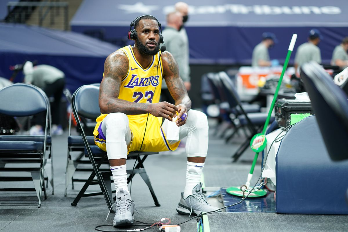 LeBron James of the Los Angeles Lakers gets interviewed after a game against the Minnesota Timberwolves on February 16, 2021 at Target Center in Minneapolis, Minnesota.