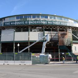 9:52 a.m. A wide view of the front of the ballpark -