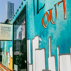 """<b>↑</b> A new addition to the Seaport retail scene is the temporary <a href=""""http://www.dossieroutpost.com/"""">Dossier Outpost</a></b> (Fulton Street between Front Street and South Street). All summer long, the block will be lined with pop-ups in shipping"""