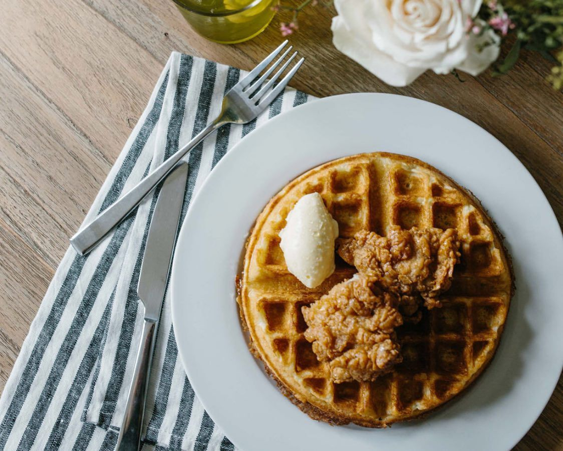 The chicken and waffles at The Wayback