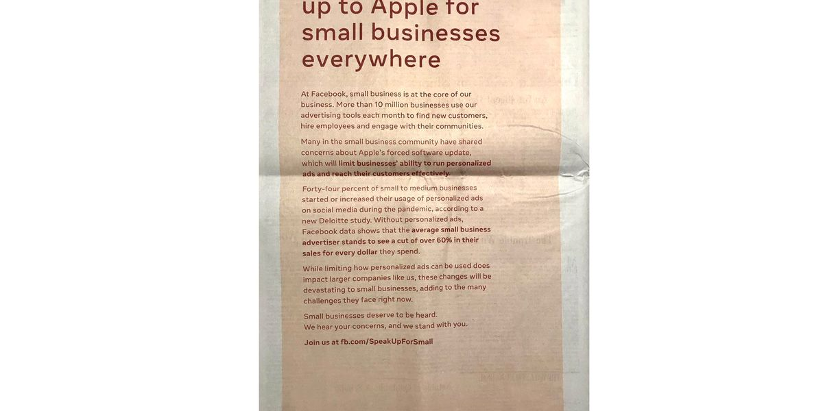 Image of article 'Facebook criticizes Apple's iOS privacy changes with full-page newspaper ads'