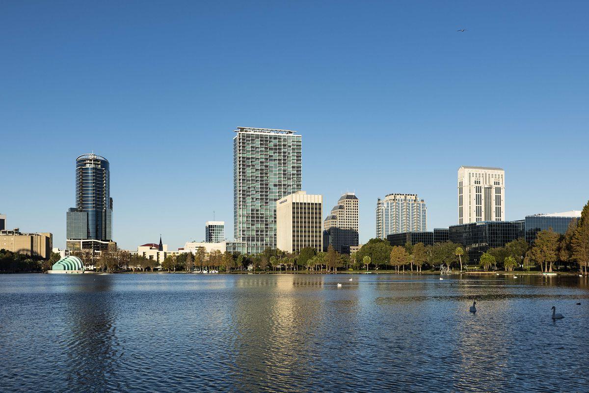 City skyline and Lake Eola...