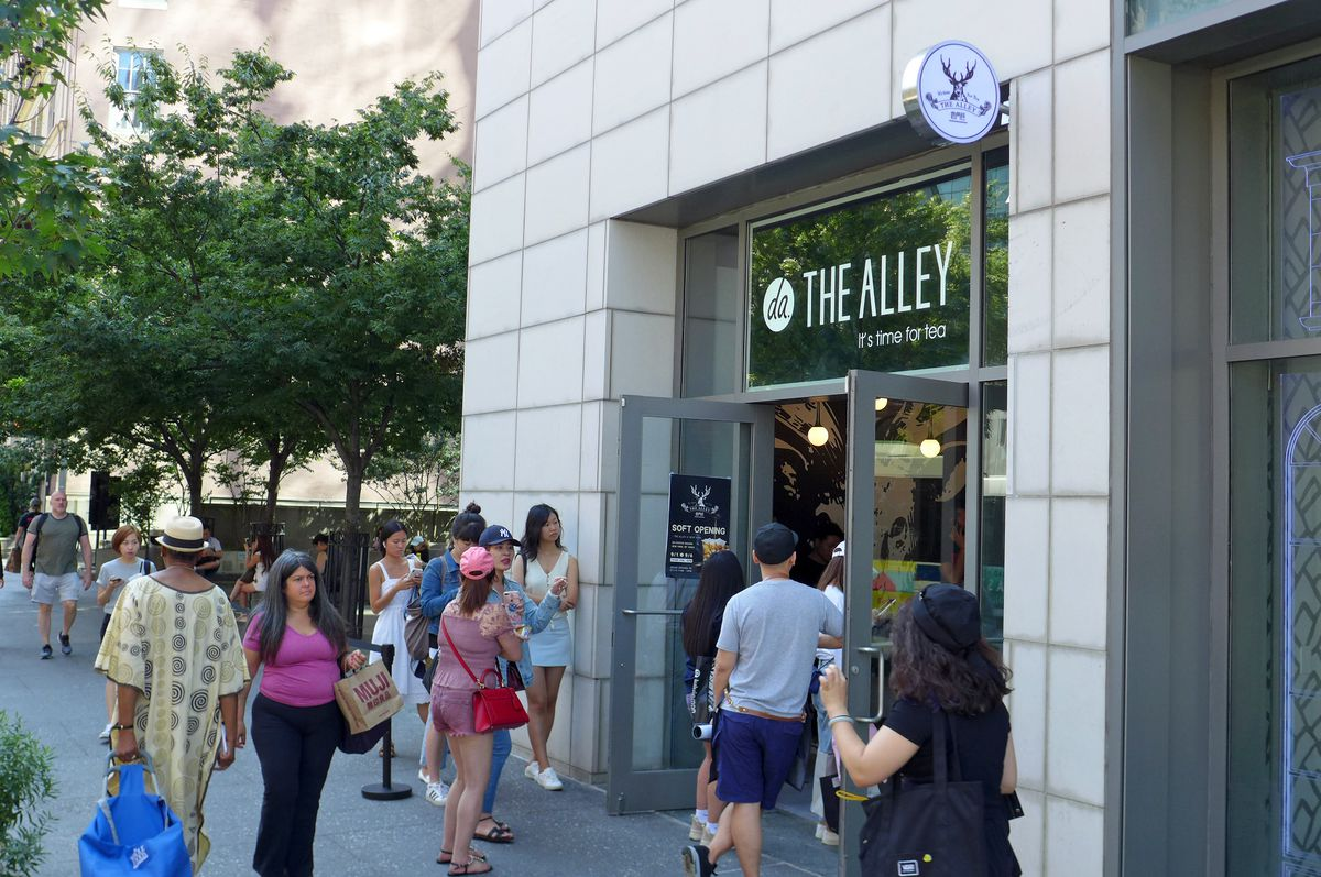 A line of patrons wait to get into the bubble tea parlor just off the Cooper Union campus...