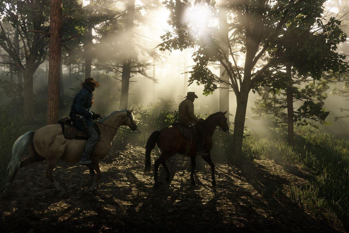 Red Dead Redemption 2 - two men on horseback in a forest
