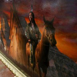 A James Kirkland painting of Red Cloud is displayed at Euro Treasures Antiques in Salt Lake City on Thursday, June 8, 2017.