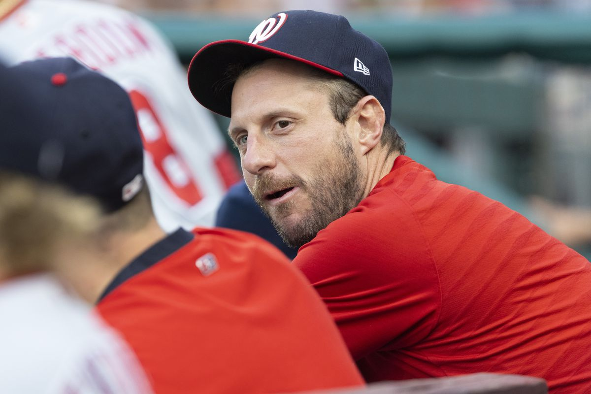 Max Scherzer of the Washington Nationals looks on against the Philadelphia Phillies at Citizens Bank Park on July 27, 2021 in Philadelphia, Pennsylvania. The Nationals defeated the Phillies 6-4.