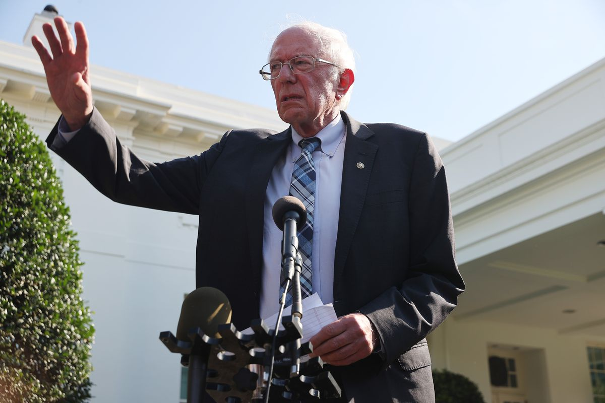 Senate Budget Committee Chairman Bernie Sanders talks to reporters outside the West Wing following a meeting with President Joe Biden at the White House July 12, 2021 in Washington, DC.