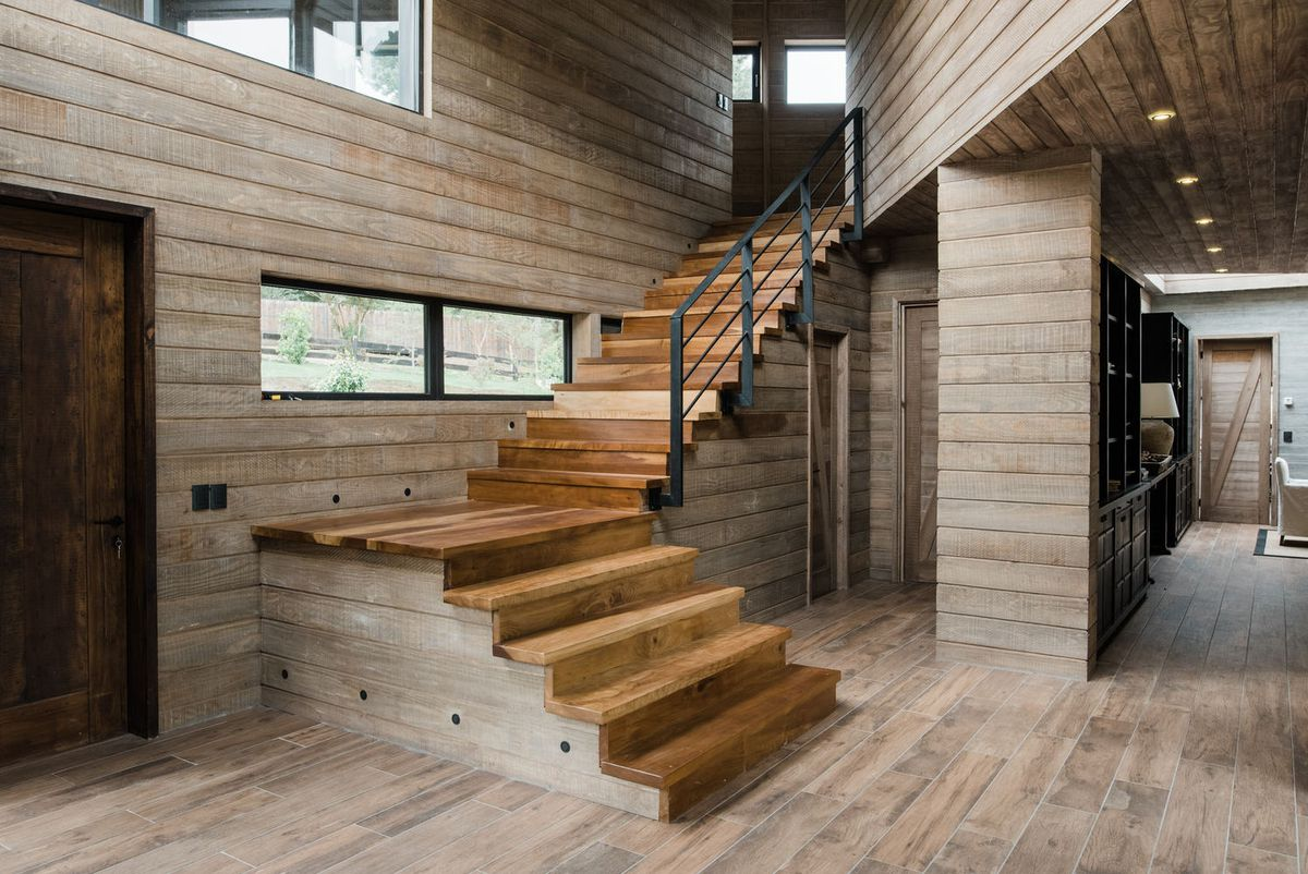 Entryway of house clad in wood
