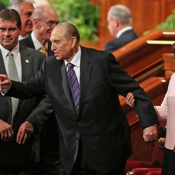 Thomas S. Monson, President of the Church of Jesus Christ of Latter-day Saints, with his daughter, Ann M. Dibb, at the end of the morning session of the 183rd Semiannual General Conference of the Church of Jesus Christ of Latter-day Saints Sunday, Oct. 6, 2013, in Salt Lake City.
