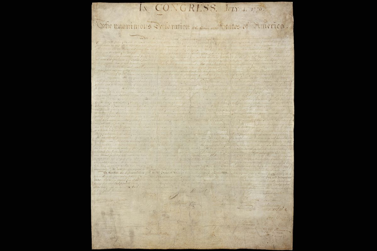 The Declaration of Independence as it appears today