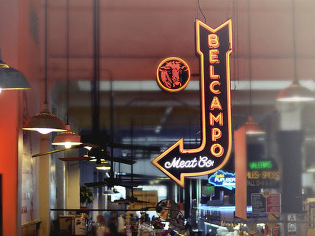 Belcampo Meat Co, sign at Grand Central Market