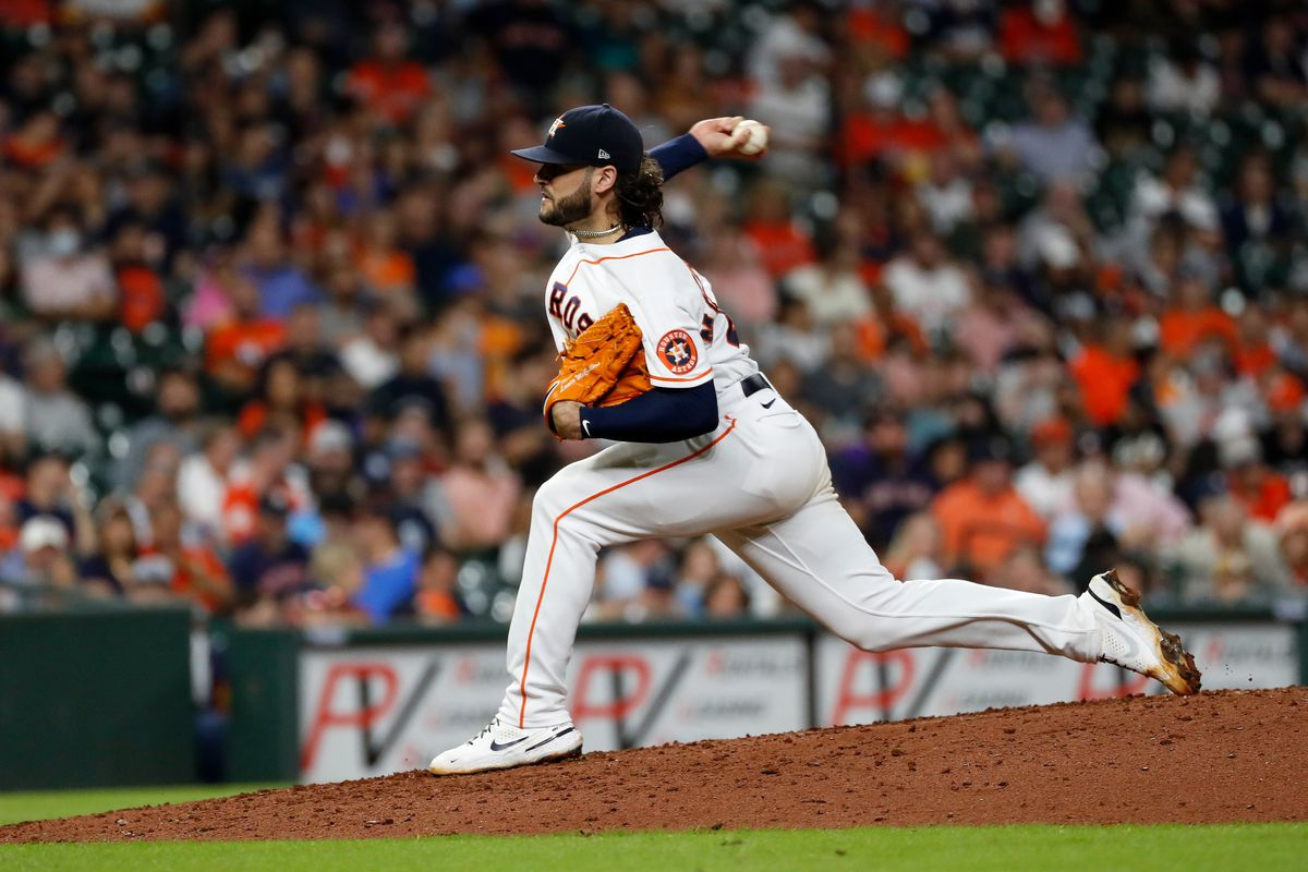 Lance McCullers Jr. #43 of the Houston Astros pitches in the sixth inning against the Tampa Bay Rays at Minute Maid Park on September 30, 2021 in Houston, Texas.
