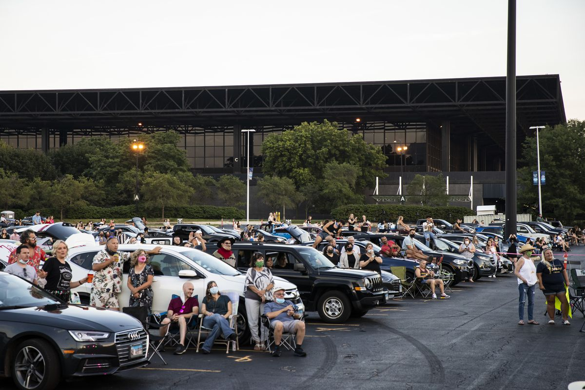 Fans gather at Soldier Field for Drive 'N Drag presented by Voss Events, Friday night, Aug. 7, 2020.