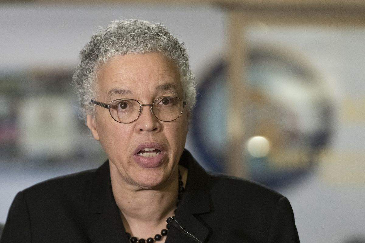 Toni Preckwinkle, Cook County Board President, along with elected and health officials speak to reporters the situation of Illinois amid the COVID-19 pandemic, Monday, March 16, 2020.