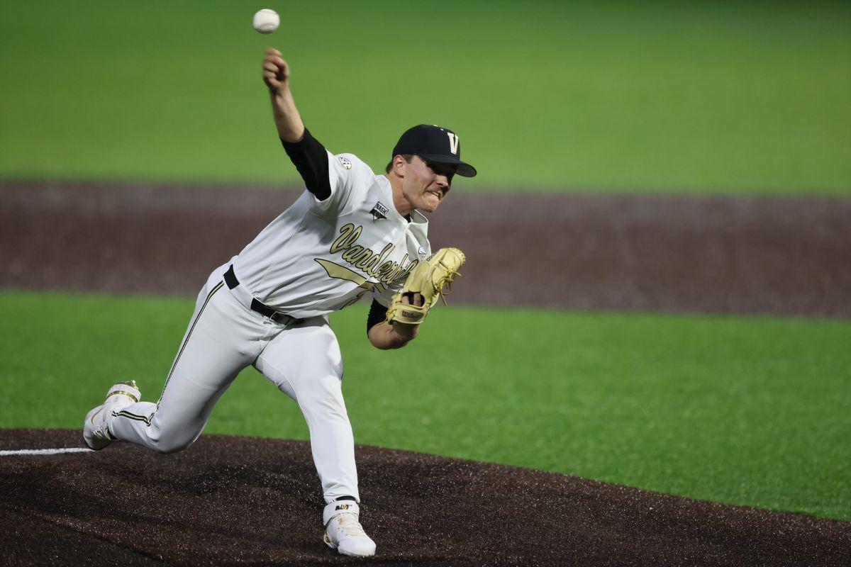 Vanderbilt Jack Leiter in action, pitching vs Georgia at Hawkins Field. Nashville, TN