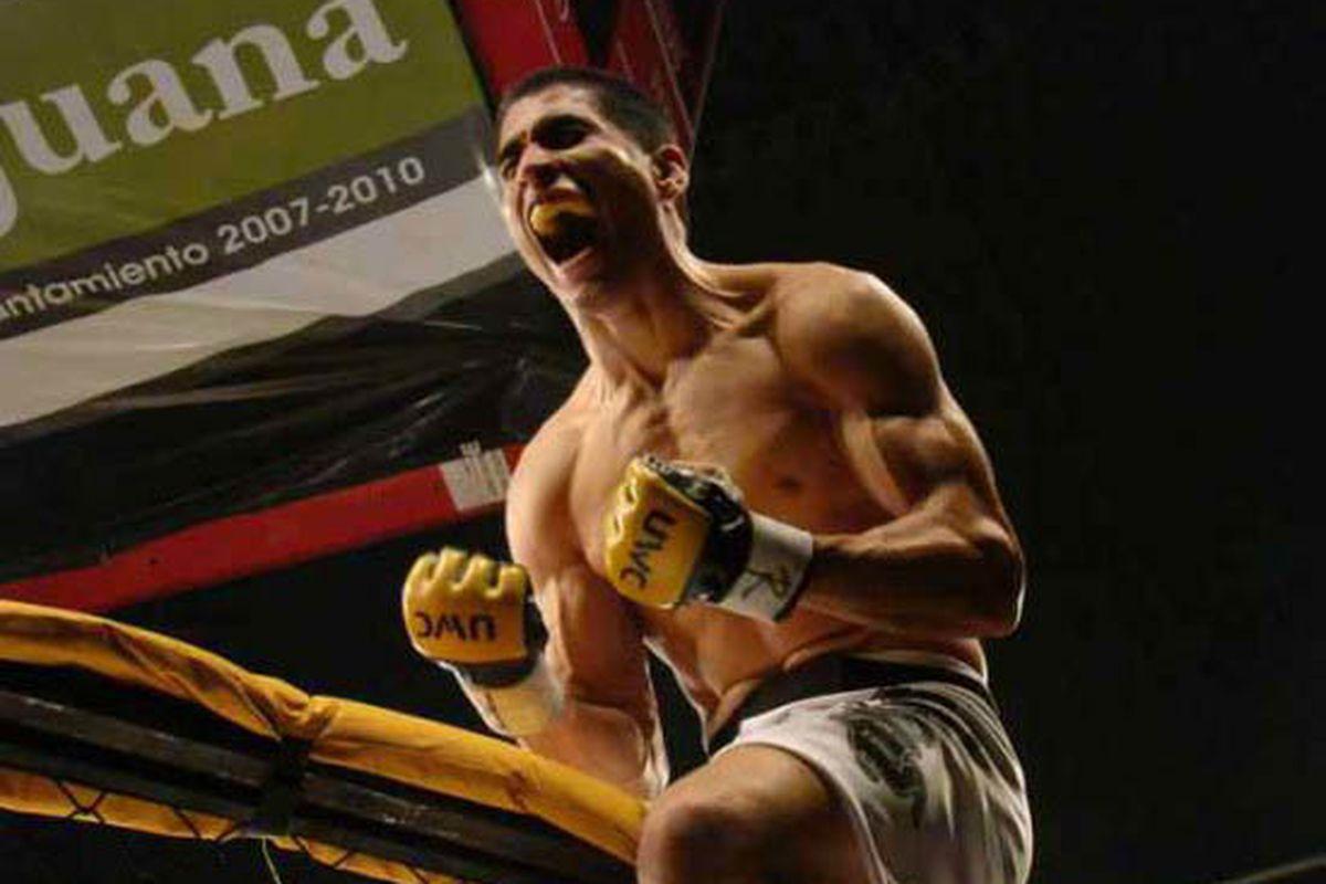 UFC bantamweight newcomer Alex Soto celebrates after a victory. (Photo via Mixfight.ru)