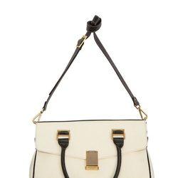 Look 26: Front-Flap Bag in Cream/Black, $49.99