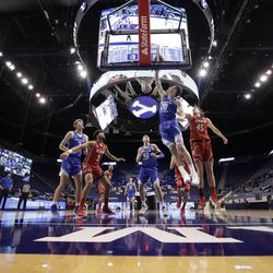 BYU and Utah play at the Marriott Center in Provo, Utah on Saturday, Dec. 12, 2020.