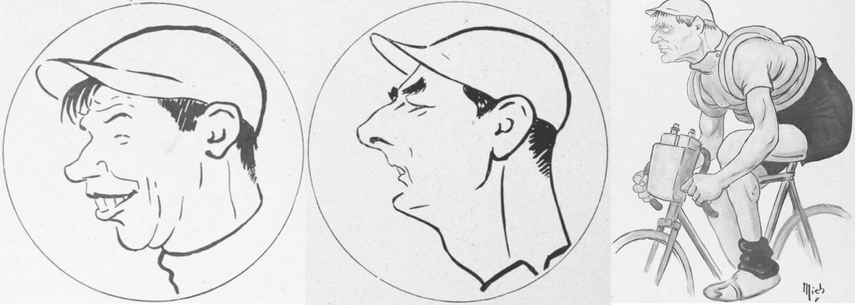 Three stars of the 1919 Tour as seen by La Vie au Grand Air's cartoonist, Mich.