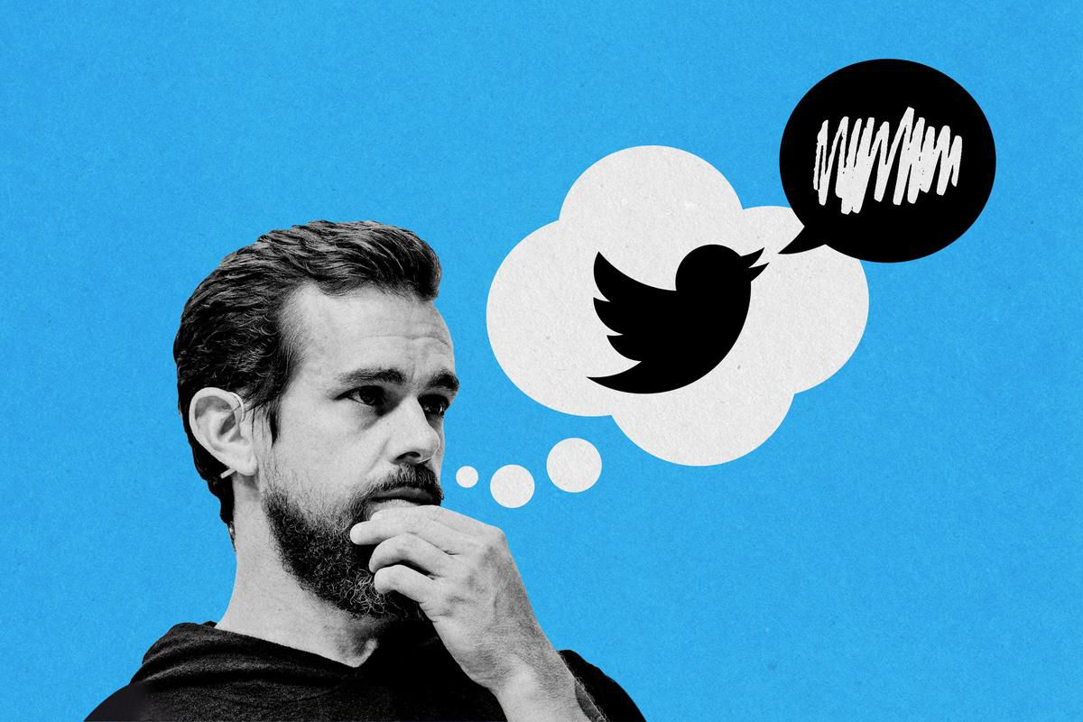 Jack Dorsey with a Twitter logo inside a thought bubble