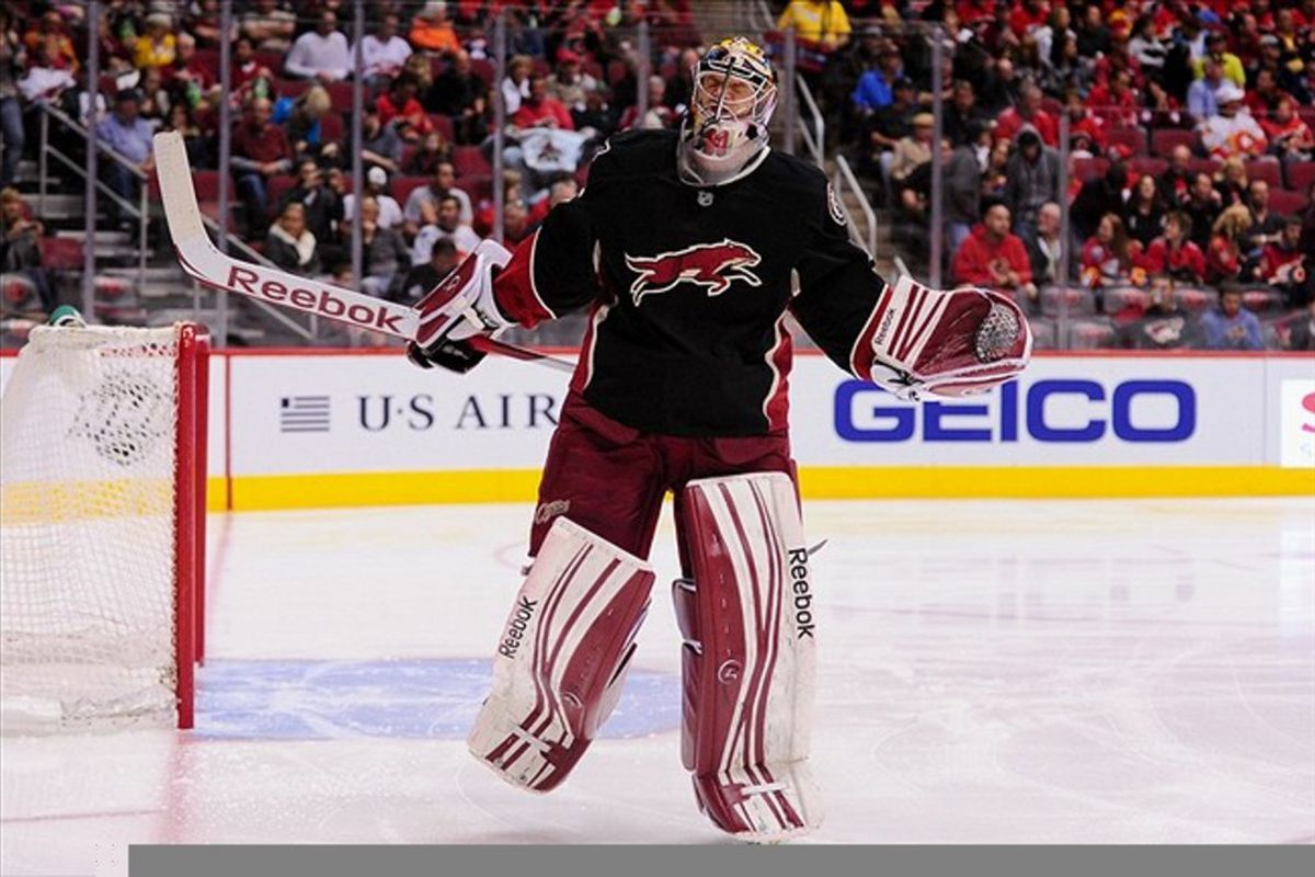 Mar 1., 2012; Glendale, AZ, USA; Phoenix Coyotes goalie Mike Smith (41) during the first period against the Calgary Flames at Jobing.com Arena. Mandatory Credit: Matt Kartozian-US PRESSWIRE