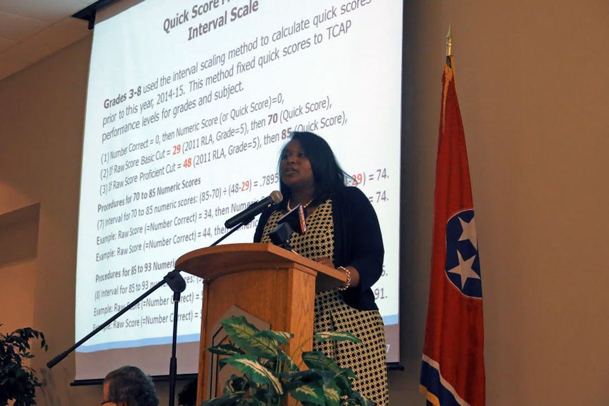 Nakia Towns, assistant commissioner of data and research for the State Department of Education, explains test calculation changes to Shelby County teachers earlier this month in Memphis.