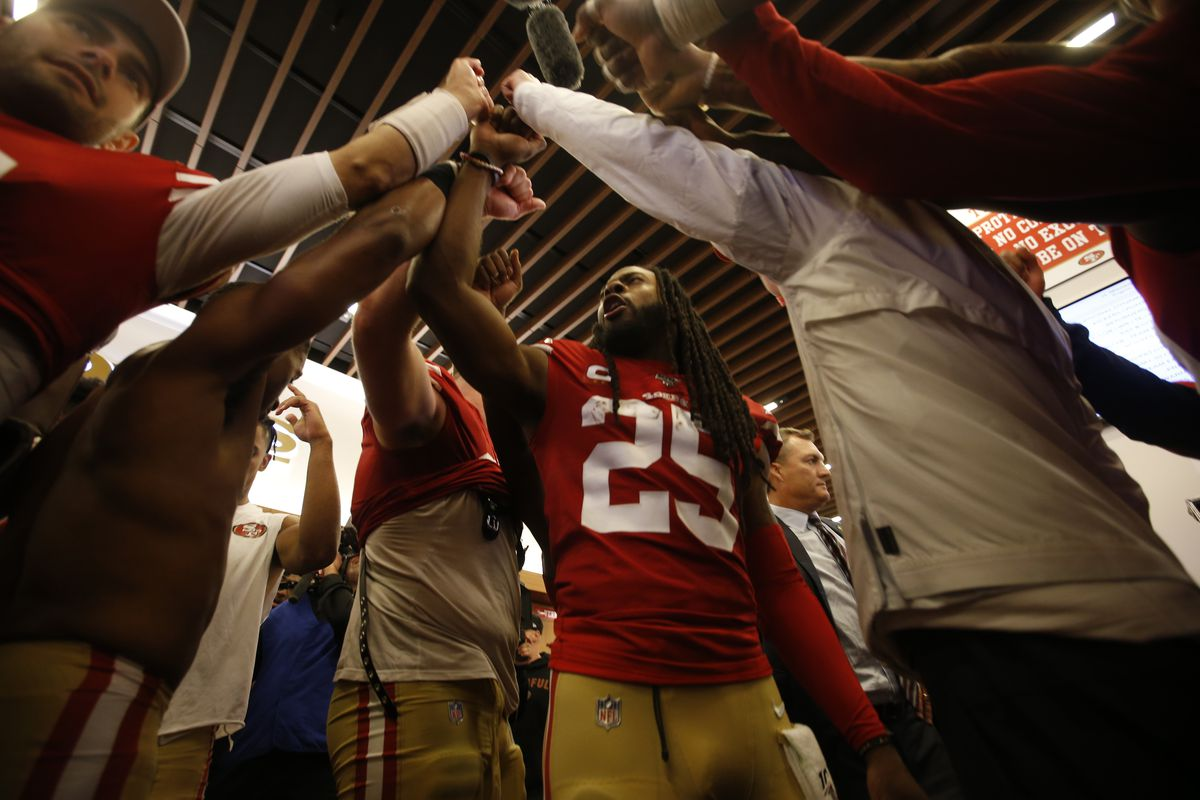 Richard Sherman #25 of the San Francisco 49ers brings the team together in the locker room following the game against the Minnesota Vikings at Levi's Stadium on January 11, 2020 in Santa Clara, California. The 49ers defeated the Vikings 27-10.