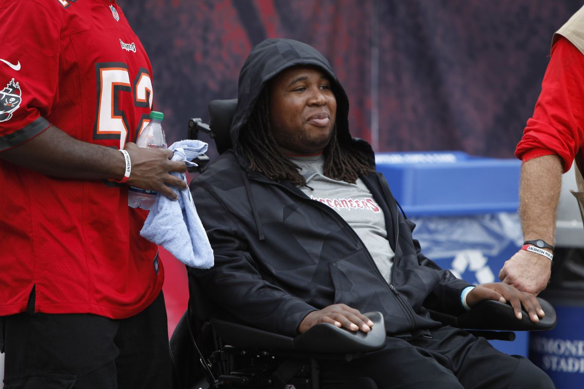 Sept. 9, 2012; Tampa FL, USA; Tampa Bay Buccaneers former signee Eric LeGrand on the sidelines against the Carolina Panthers during the first half at Raymond James Stadium. Mandatory Credit: Matt Stamey-US PRESSWIRE