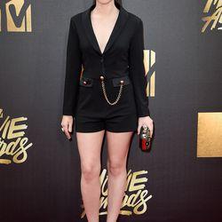 Vanessa Marano wears a blazer romper.