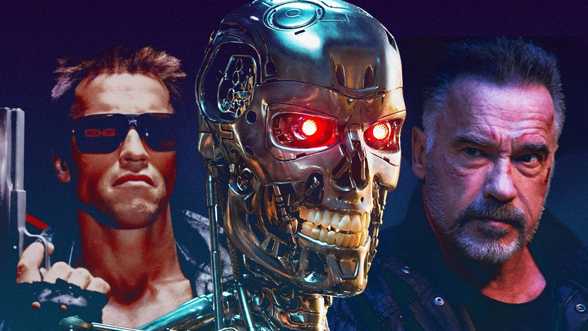 """Illustration featuring Arnold Schwarzenegger in """"The Terminator"""" (1984), the metal terminator, and Arnold Schwarzenegger from """"Terminator: Dark Fate."""""""
