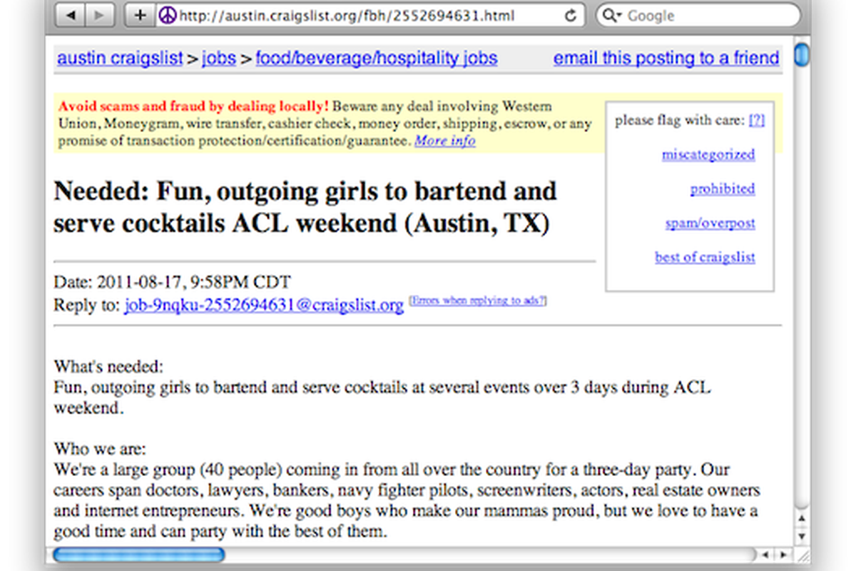 Craigslist Ad Seeks Ladies To Serve Drinks To Group Of Dudes Eater