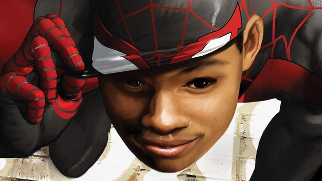 Miles Morales peels back his Spider-Man mask to smile at the reader, on the cover of Ultimate Comics Spider-Man #6, Marvel Comics (2012).