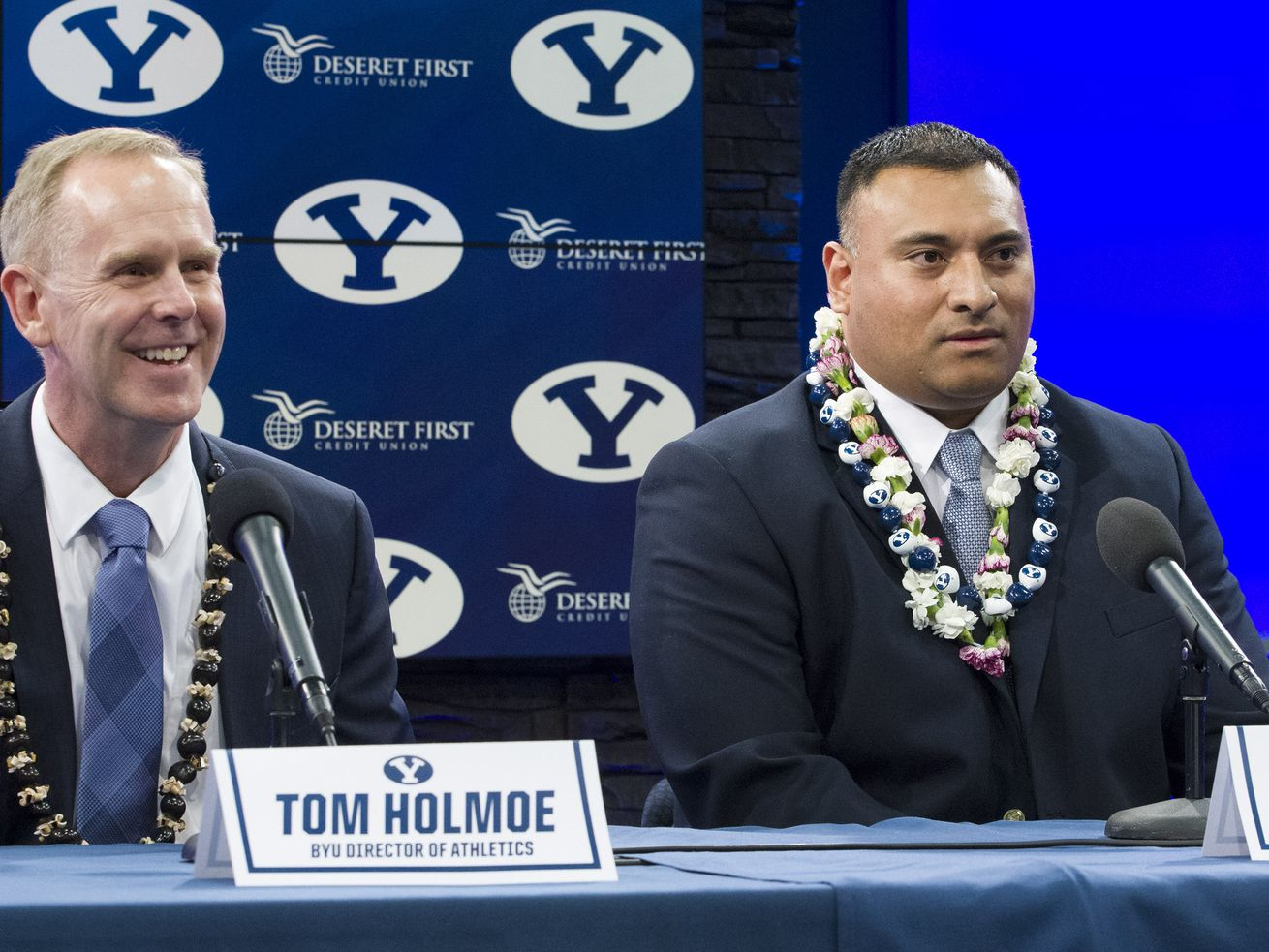 BYU AD Tom Holmoe and BYU football coach Kalani Sitake, shown here at a news conference on Dec. 21, 2015 when Sitake was named Bronco Mendenhall's successor, took to social media last week to talk about the status of the program in the midst of the COVID-19 pandemic.
