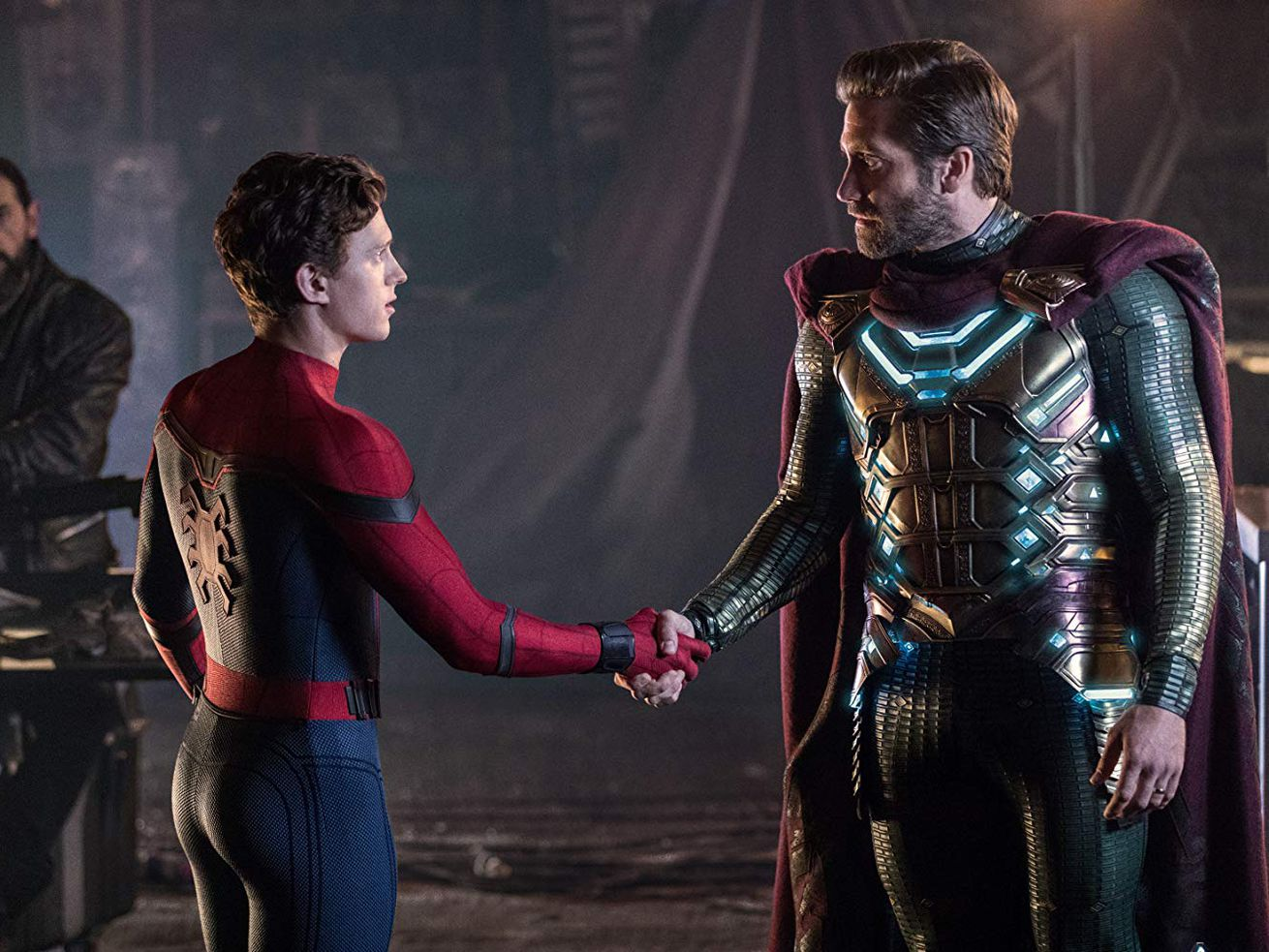 Spider-Man and Mysterio in S<em>pider-Man: Far From Home.</em>