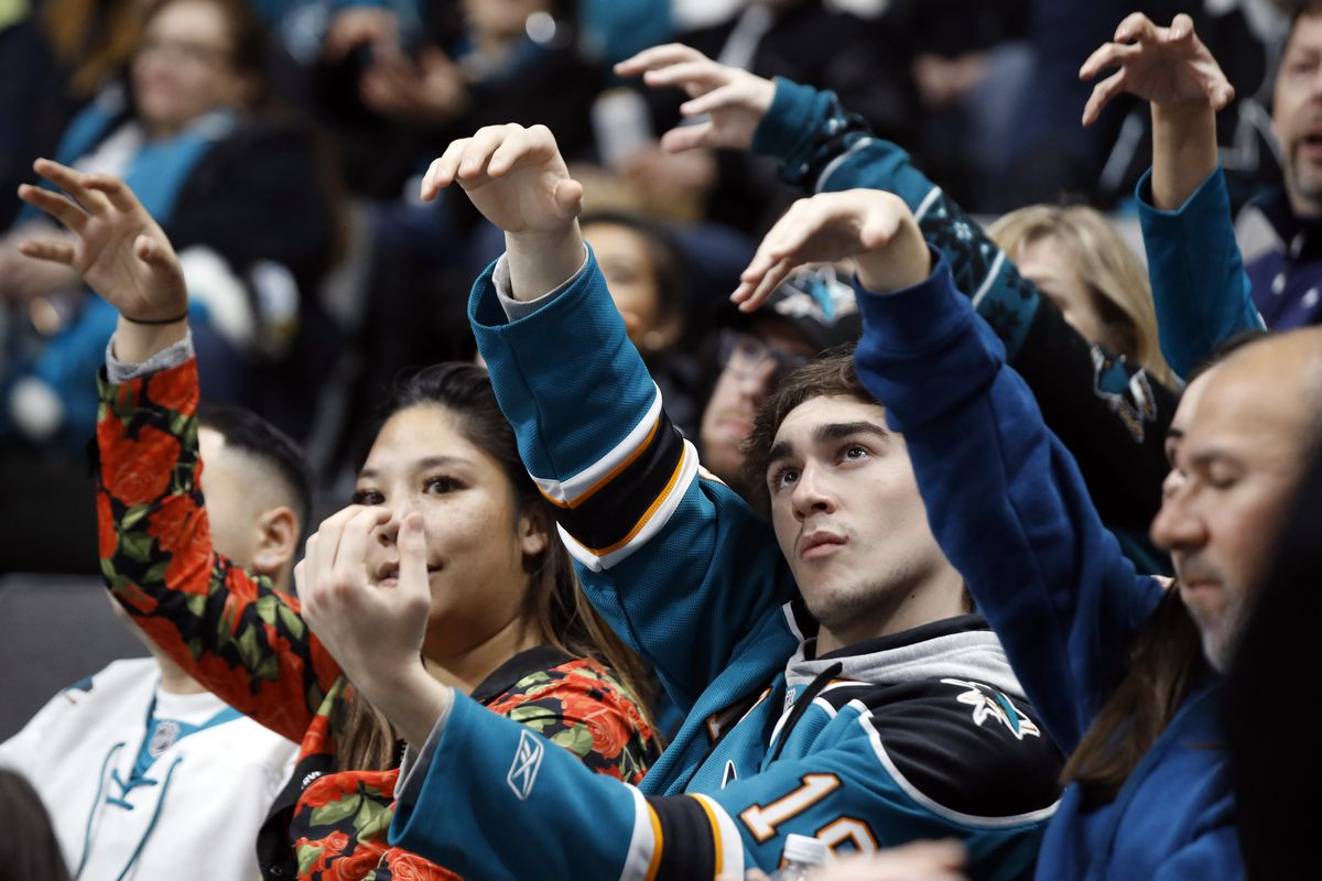 Dec 22, 2019; San Jose, California, USA; San Jose Sharks fans gesture before a power play during the third period of the game between the Sharks and the Vegas Golden Knights at SAP Center at San Jose.