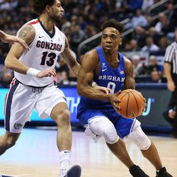 Brigham Young Cougars guard Jahshire Hardnett (0) drives on Gonzaga Bulldogs guard Josh Perkins (13) as BYU and Gonzaga play in an NCAA basketball game in the Marriott Center in Provo on Saturday, Feb. 24, 2018.
