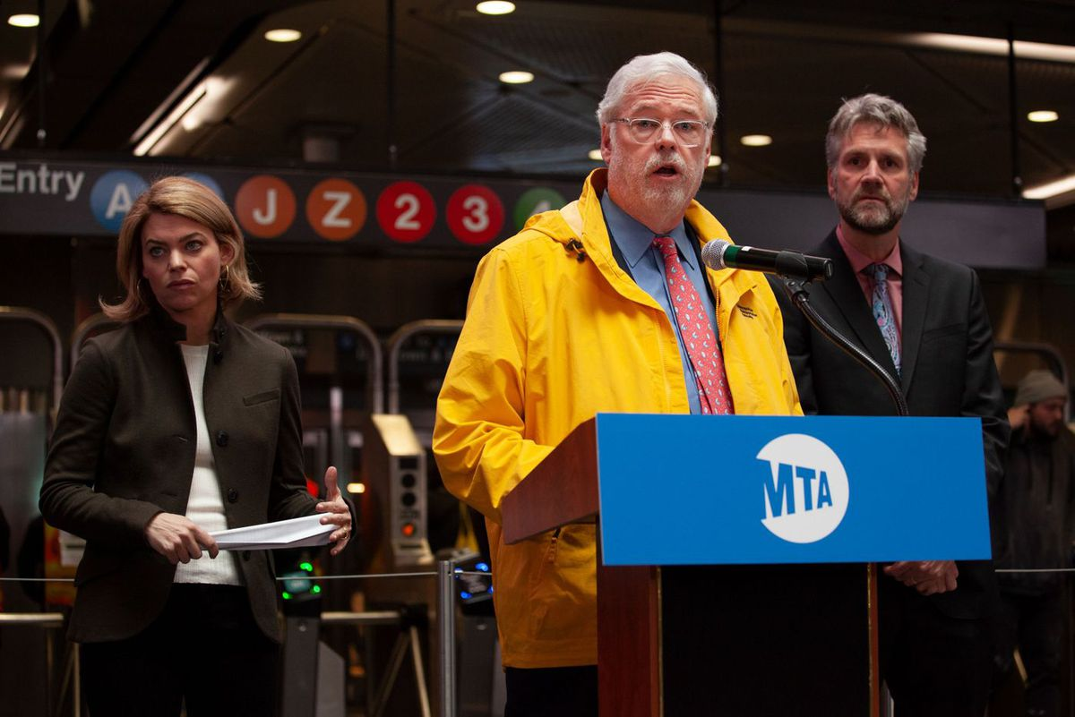 MTA Chairman Patrick Foye speaks at the Fulton Transit Center about the appointment of Sarah Feinberg as interim president of New York City Transit.