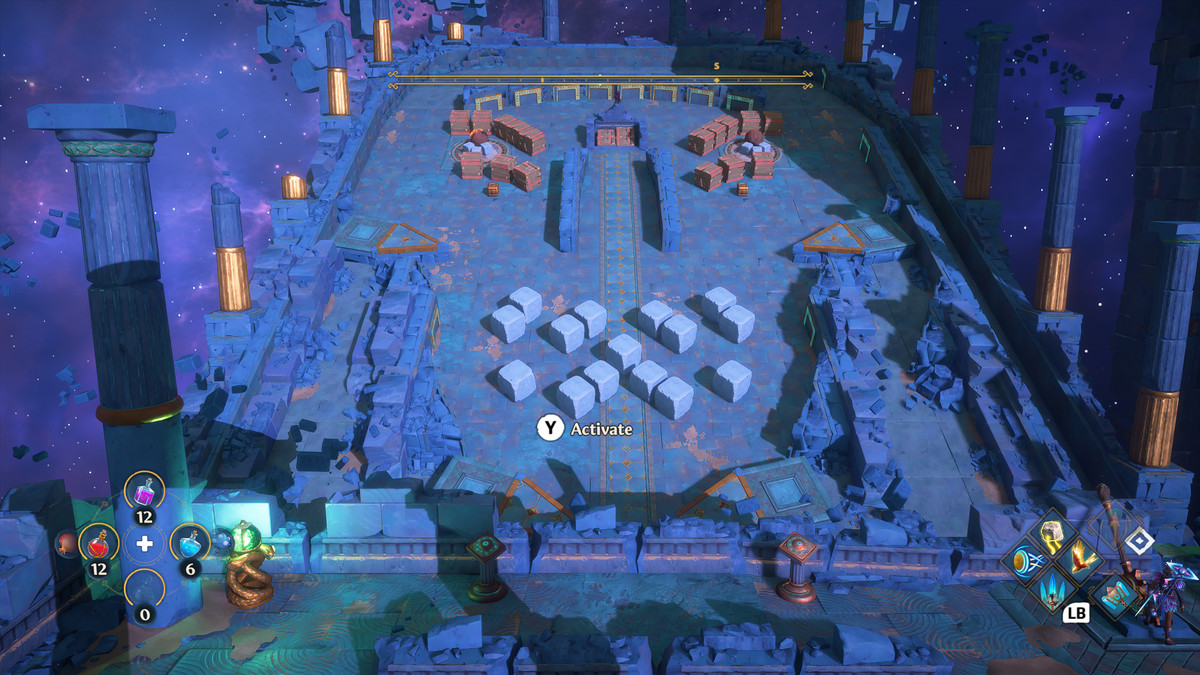 A puzzle solution in the Aiolos's Strength Vault of Tartaros from Immortals Fenyx Rising