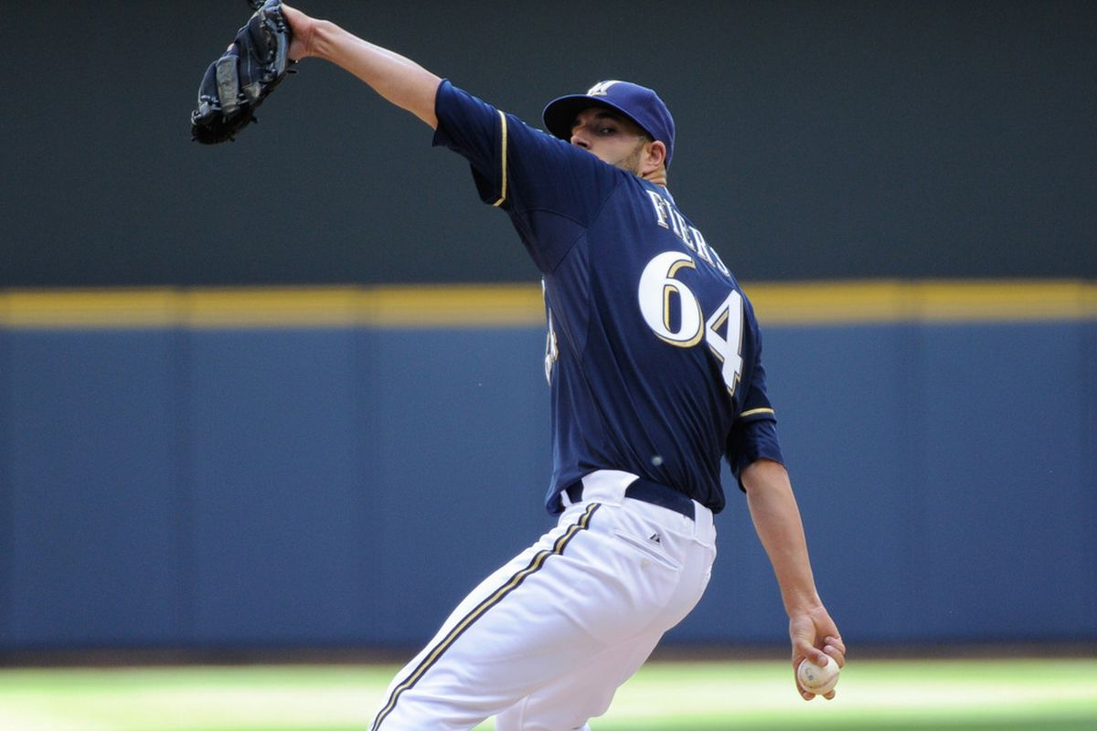 June 3, 2012; Milwaukee, WI, USA;  Milwaukee Brewers pitcher Michael Fiers (64) pitches against the Pittsburgh Pirates in the second inning at Miller Park.  Mandatory Credit: Benny Sieu-US PRESSWIRE