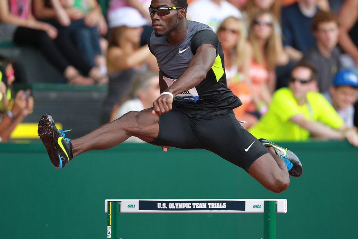EUGENE, OR - JUNE 29: Kerron Clement competes in the Men's 400 Meter Hurdles on day 8 of the 2012 U.S. Olympic Track & Field Team Trials at Hayward Field on June 29, 2012 in Eugene, Oregon.  (Photo by Andy Lyons/Getty Images)