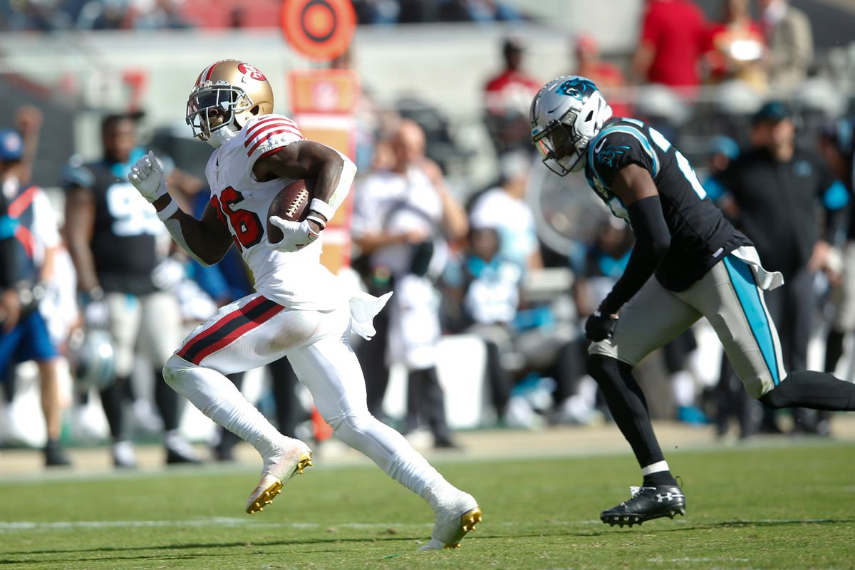 Tevin Coleman of the San Francisco 49ers rushes for a touchdown during the game against the Carolina Panthers at Levi's Stadium on October 27, 2019 in Santa Clara, California.