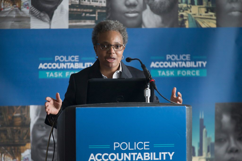 Lori Lightfoot is shown in April as she revealed and discussed the findings of the Police Accountability Task Force. | Getty Images