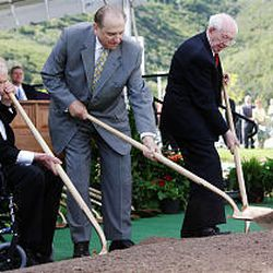 Members of the LDS Church First Presidency, President James E. Faust, left, President Thomas S. Monson, and President Gordon B. Hinckley, break ground in Draper for the third temple to be built in the Salt Lake Valley, Saturday, August 5, 2006.
