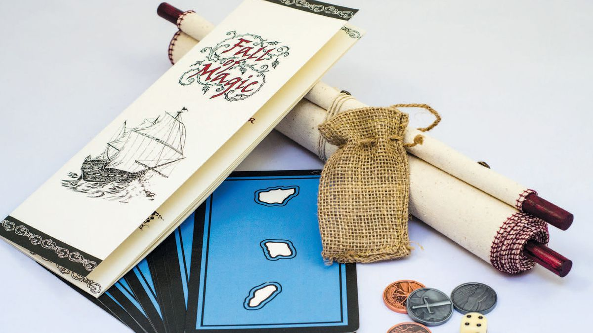 The full Fall of Magic set, with scroll, rules, player tokens, and the box