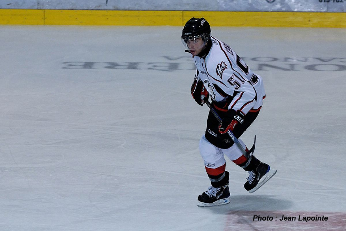 """Philippe Cornet in action via <a href=""""http://www.huskies.qc.ca/"""" target=""""new"""">Rouyn-Noranda Huskies</a>, Photo by Jean Lapointe"""