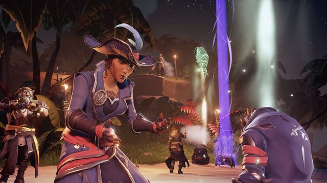 A player revives a fellow pirate in the arena in a screenshot from Sea of Thieves