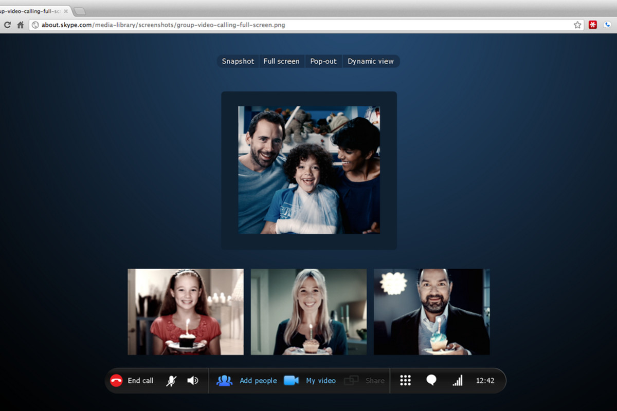 Skype Chrome browser mock-up