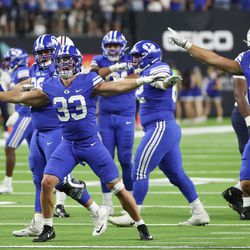 The Brigham Young Cougars defense celebrates a missed field goal by the Arizona Wildcats during the Vegas Kickoff Classic in Las Vegas on Saturday, Sept. 4, 2021. BYU won 24-16.
